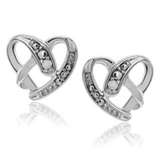 Journee Collection Sterling Silver 1/10 ct Diamond Heart Stud Earrings