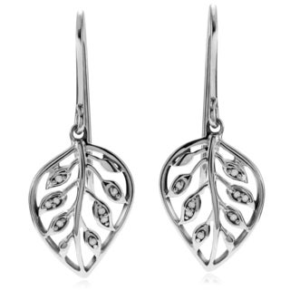 Journee Collection Sterling Silver 1/6 ct Diamond Leaf Dangle Earrings