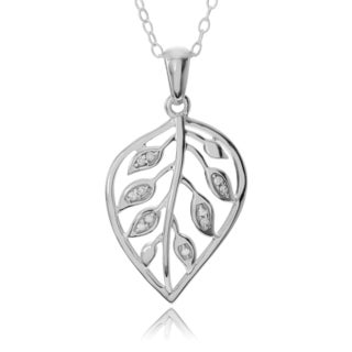 Journee Collection Sterling Silver Diamond Accent Leaf Pendant