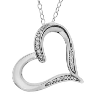 Journee Collection Sterling Silver Diamond Accent Heart Pendant