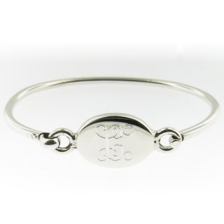 Handmade Sterling Silver Personalized Oval Hinged Baby Bracelet (Mexico)