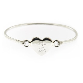 Sterling Silver Personalized Heart Hinged Baby Bracelet (Mexico)