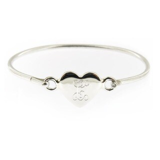 Handmade Sterling Silver Personalized Heart Hinged Baby Bracelet (Mexico) (More options available)