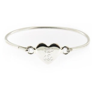 Handmade Sterling Silver Personalized Heart Hinged Baby Bracelet (Mexico)
