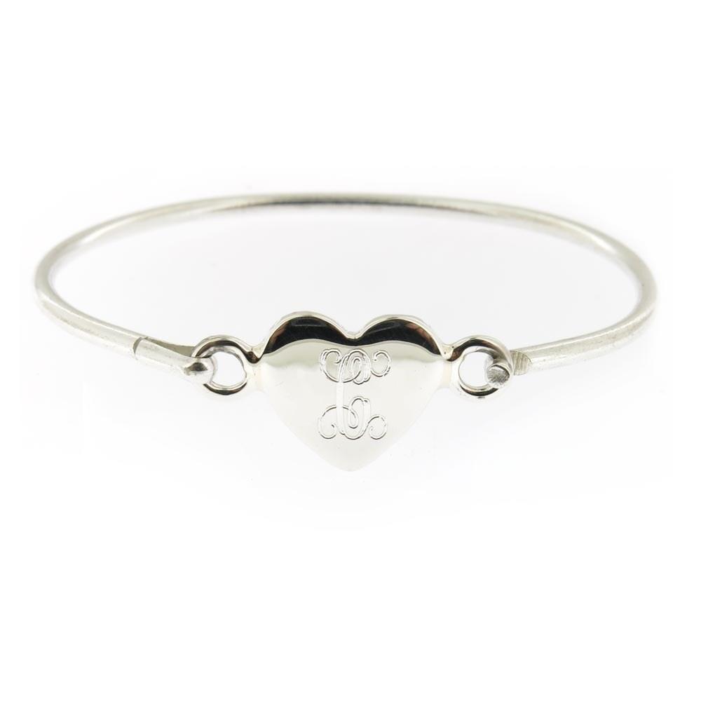 "Sterling Silver 4.5/"" Engraved Baby Bead Bracelet w// Dangling HEART"