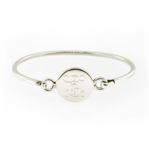 Handmade Sterling Silver Personalized Round Hinged Baby Bracelet (Mexico)