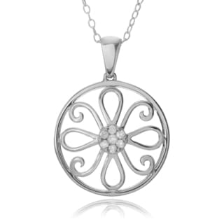 Journee Collection Sterling Silver 1/10 CT Diamond Pave Flower Pendant