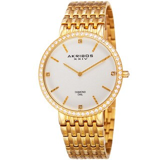 Akribos XXIV Men's Quartz Diamond Dial Stainless Steel Gold-Tone Bracelet Watch - GOLD