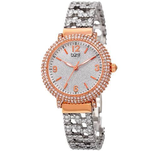 Burgi Women's Quartz Swarovski Crystal Rose-Tone Bracelet Watch - Gold