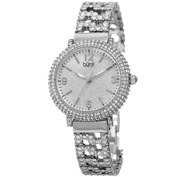 Burgi Women's Quartz Swarovski Crystal Elements Silver-Tone Bracelet Watch with FREE GIFT - Silver