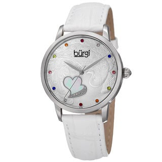 Burgi Women's Quartz Swarovski Element Crystal Leather White Strap Watch with GIFT BOX
