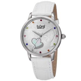 Burgi Women's Quartz Swarovski Crystal Leather White Strap Watch