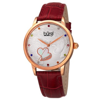 Burgi Women's Quartz Swarovski Crystal Leather Red Strap Watch