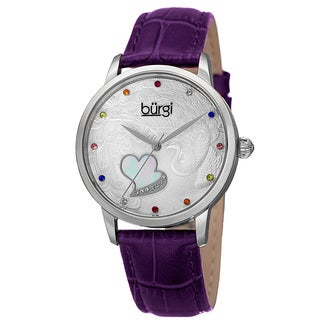 Burgi Women's Quartz Swarovski Crystal Leather Purple Strap Watch with FREE GIFT
