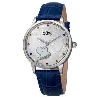 Burgi Women's Quartz Swarovski Elements Crystal Leather Blue Strap Watch