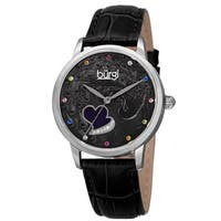Burgi Women's Quartz Swarovski Crystal Leather Black Strap Watch