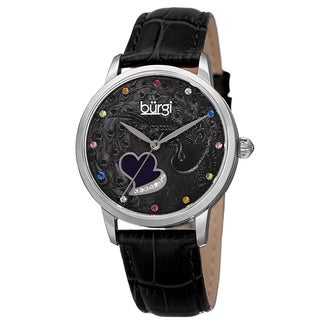 Burgi Women's Quartz Swarovski Crystal Leather Black Strap Watch