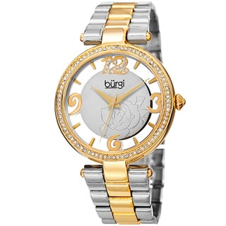 Burgi Women's Quartz Swarovski Crystal Two-Tone Bracelet Watch