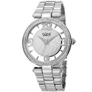 Burgi Women's Quartz Swarovski Crystal Silver-Tone Bracelet Watch with FREE Bangle - silver