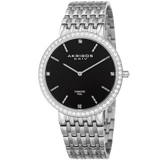 Akribos XXIV Men's Quartz Diamond Dial Stainless Steel Silver-Tone Bracelet Watch - Black