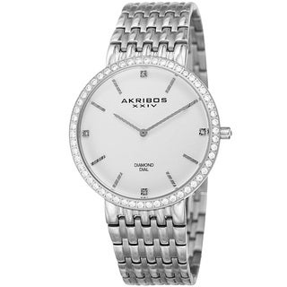 Akribos XXIV Men's Quartz Diamond Dial Stainless Steel Silver-Tone Bracelet Watch