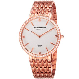 Akribos XXIV Men's Quartz Diamond Dial Stainless Steel Rose-Tone Bracelet Watch - Pink