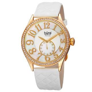 Burgi Women's Quartz Diamond Swarovski Crystal Leather White Strap Watch
