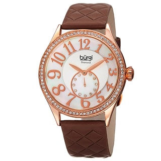 Burgi Women's Quartz Diamond Swarovski Crystal Leather Rose-Tone Strap Watch