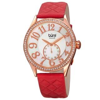 Burgi Women's Quartz Diamond Swarovski Crystal Leather Red Strap Watch