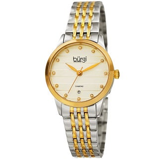 Burgi Women's Quartz Diamond Date Stainless Steel Two-Tone Bracelet Watch with GIFT BOX
