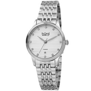 Burgi Women's Quartz Diamond Date Stainless Steel Silver-Tone Bracelet Watch with GIFT BOX - Silver