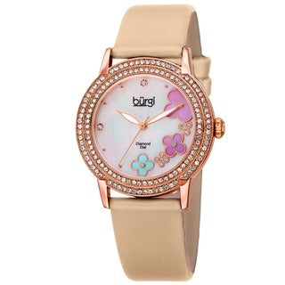 Burgi Women's Swiss Quartz Floral Swarovski Crystal Strap Watch with FREE Bangle - PInk