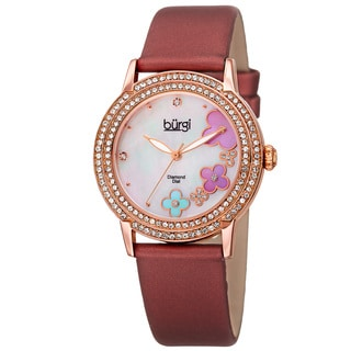 Burgi Women's Swiss Quartz Floral Swarovski Crystal Strap Watch