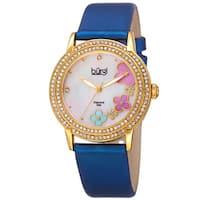 Burgi Women's Swiss Quartz Floral Swarovski Crystal Blue Strap Watch