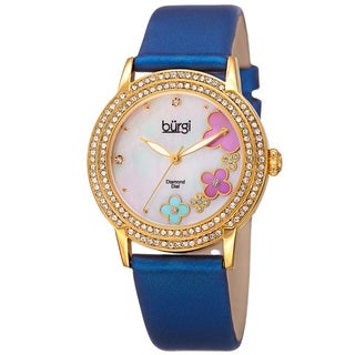 Burgi Women's Swiss Quartz Floral Swarovski Crystal Blue Strap Watch with FREE Bangle