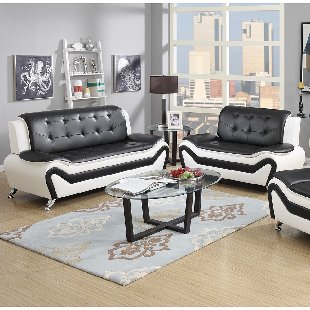 Marvelous Wanda 2 Piece Modern Bonded Leather Sofa Set Gamerscity Chair Design For Home Gamerscityorg