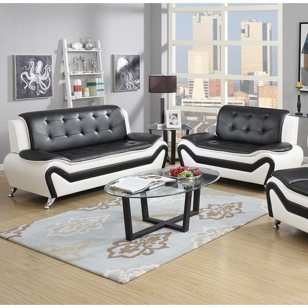 2 Piece Modern Bonded Leather Sofa Set