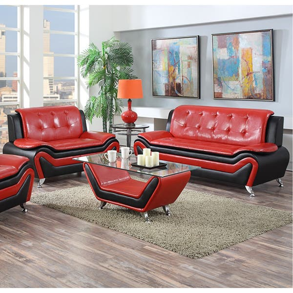 2 Piece Modern Bonded Leather Sofa Set