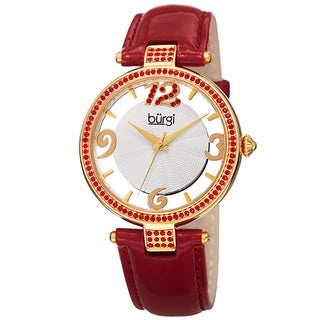 Burgi Women's Quartz Transparent Dial Leather Red Strap Watch with FREE GIFT