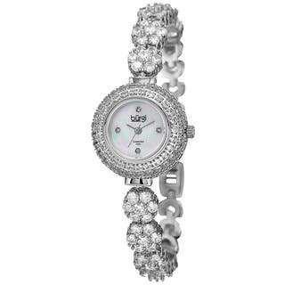 Burgi Women's Quartz Diamond Silver-Tone Bracelet Watch with FREE GIFT - Silver|https://ak1.ostkcdn.com/images/products/10840185/P17881830.jpg?impolicy=medium
