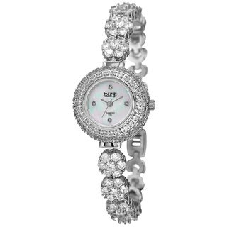 Burgi Women's Quartz Diamond Silver-Tone Bracelet Watch with FREE GIFT - Silver
