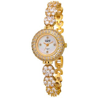 Burgi Women's Quartz Diamond Gold-Tone Bracelet Watch with FREE Bangle - GOLD