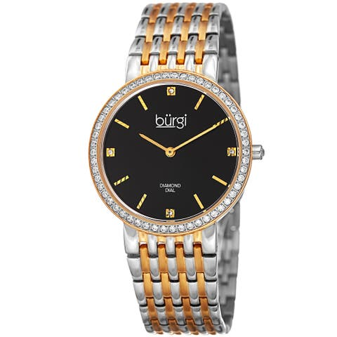 Burgi Women's Quartz Diamond Stainless Steel Two-Tone Bracelet Watch
