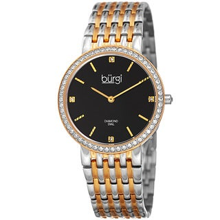 Burgi Women's Quartz Diamond Stainless Steel Two-Tone Bracelet Watch