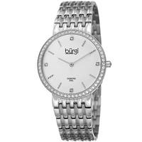 Burgi Women's Quartz Diamond Stainless Steel Silver-Tone Bracelet Watch - silver