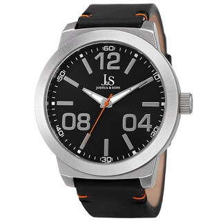 Joshua & Sons Men's Quartz Leather Silver-Tone Strap Watch - Silver