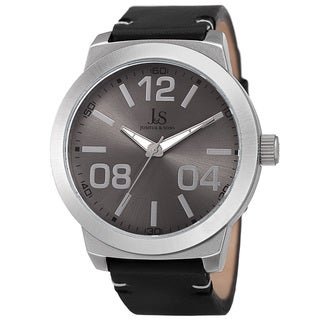 Joshua & Sons Men's Quartz Leather Silver-Tone Strap Watch