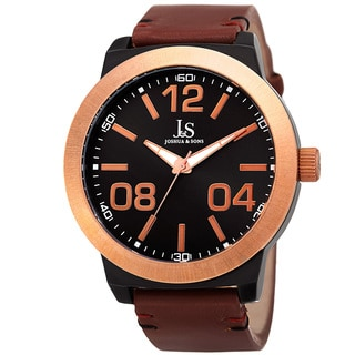 Joshua & Sons Men's Quartz Leather Rose-Tone Strap Watch