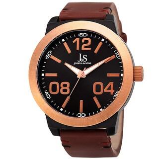 Joshua & Sons Men's Quartz Leather Rose-Tone Strap Watch