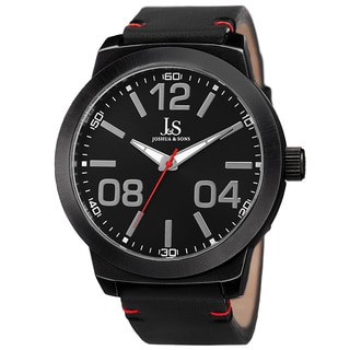 Joshua & Sons Men's Quartz Leather Black Strap Watch